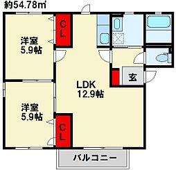 ボヌール立屋敷 B棟[2階]の間取り