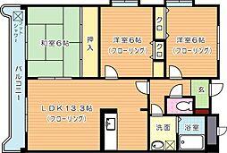 穴生ペットマンション[3階]の間取り