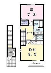 サンセールB[2階]の間取り