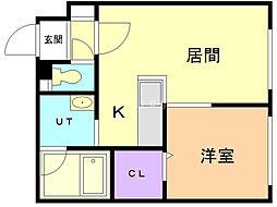 LA HIJA(ラヒハ) 4階1DKの間取り