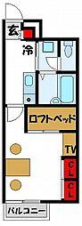 レオパレス若木台[207号室]の間取り