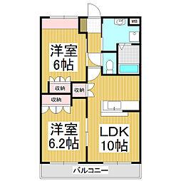 長野県下伊那郡松川町元大島の賃貸アパートの間取り