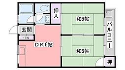 兵庫県西宮市能登町の賃貸マンションの間取り