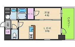 エスリード福島ブレイブ 9階1LDKの間取り
