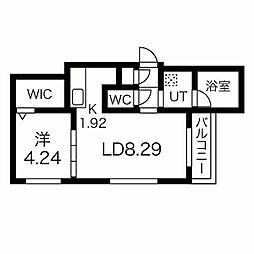 ピーロ栄通 4階1LDKの間取り