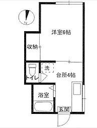第3竹田荘[102号室]の間取り