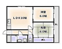 大阪府大阪市浪速区大国2丁目の賃貸マンションの間取り