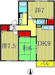 アミュゼ若柴A 2階3DKの間取り
