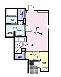 神奈川県横浜市磯子区森が丘2丁目の賃貸アパートの間取り
