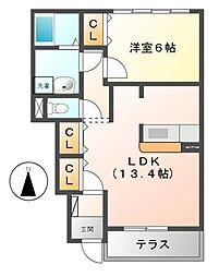 三重県多気郡明和町大字坂本の賃貸アパートの間取り