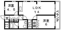 深江橋プラザ[6階]の間取り