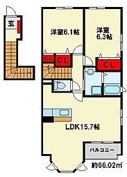 福岡県北九州市八幡西区本城学研台3丁目の賃貸アパートの間取り