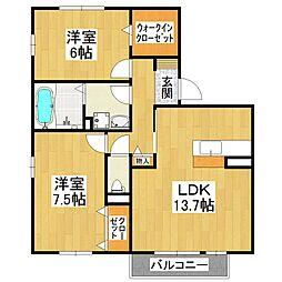 大阪府堺市東区日置荘北町3丁の賃貸アパートの間取り
