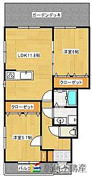 アパートメント佐賀大和[1階]の間取り