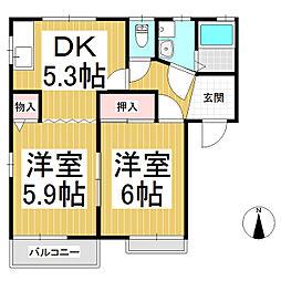 メゾン三星 D棟[2階]の間取り