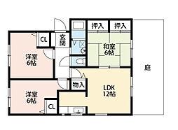 福岡県北九州市小倉南区徳吉西3丁目の賃貸アパートの間取り