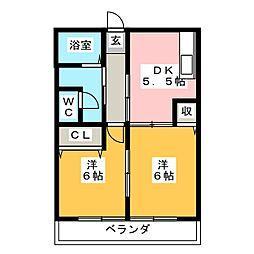 ビレッジ丸子[2階]の間取り