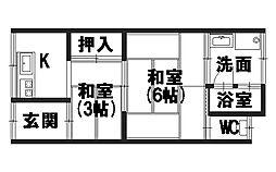 青山荘[205号室]の間取り