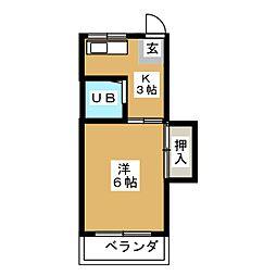 コーポ富[2階]の間取り