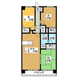 ピアネーズ神ノ倉 A棟[1階]の間取り