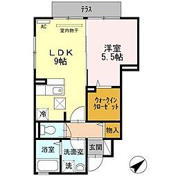 福岡県遠賀郡水巻町緑ケ丘2丁目の賃貸アパートの間取り