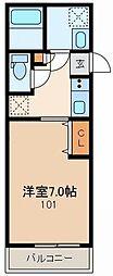 東京メトロ丸ノ内線 茗荷谷駅 徒歩7分の賃貸マンション 1階1Kの間取り