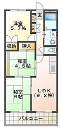 YKハイツ江井ヶ島[5階]の間取り