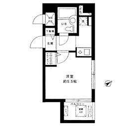 東急田園都市線 駒沢大学駅 徒歩8分の賃貸マンション 3階ワンルームの間取り