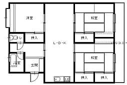 グリーンマンション三彩[4階]の間取り