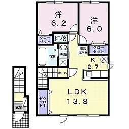 北海道札幌市豊平区美園七条8丁目の賃貸アパートの間取り