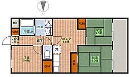 エスコート中崎 9階3DKの間取り