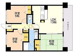 コアマンション空港南 5階3LDKの間取り