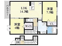 泉北高速鉄道 泉ヶ丘駅 バス6分 高倉台三丁下車 徒歩3分の賃貸アパート 2階2LDKの間取り