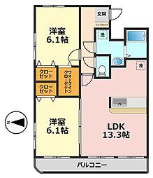 東京都江戸川区東松本1丁目の賃貸マンションの間取り