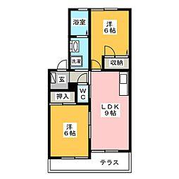 ウイングコートA棟[1階]の間取り