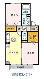 千葉県松戸市横須賀2丁目の賃貸アパートの間取り