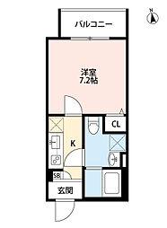 阪神本線 姫島駅 徒歩10分の賃貸アパート 2階1Kの間取り