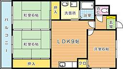 キャニオン朝倉[201号室]の間取り