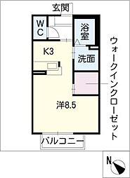 アドバンス K[1階]の間取り