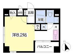 東京メトロ有楽町線 新富町駅 徒歩3分の賃貸マンション 5階ワンルームの間取り