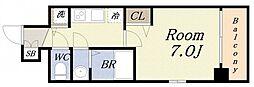 アスヴェル大阪サウスキャナル 6階1Kの間取り