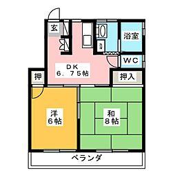 内藤ハイツD 2階2DKの間取り