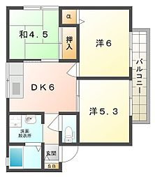 大阪府門真市月出町の賃貸アパートの間取り