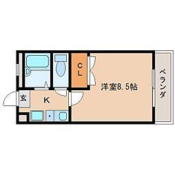 奈良県奈良市南京終町の賃貸マンションの間取り