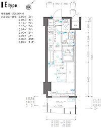 ZOOM横浜関内 7階1Kの間取り