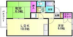 福岡県筑紫郡那珂川町今光2丁目の賃貸アパートの間取り