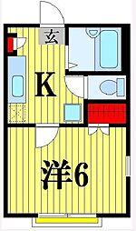 東京都足立区南花畑1丁目の賃貸アパートの間取り