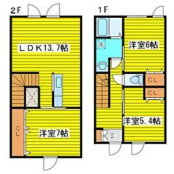 [テラスハウス] 北海道札幌市東区北三十三条東7丁目 の賃貸【北海道 / 札幌市東区】の間取り