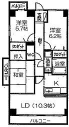 愛知県名古屋市千種区覚王山通9丁目の賃貸マンションの間取り
