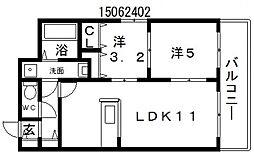 アールオーハイム松崎町[3階]の間取り